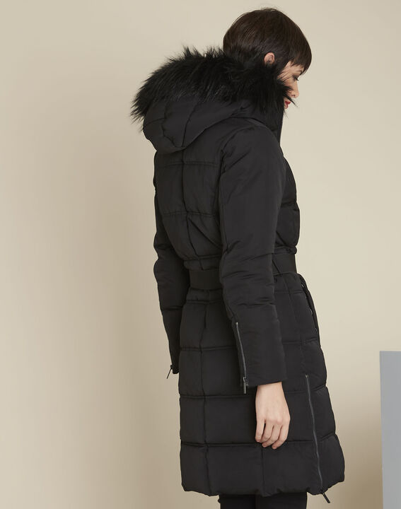 Pipa long black hooded down jacket (4) - Maison 123