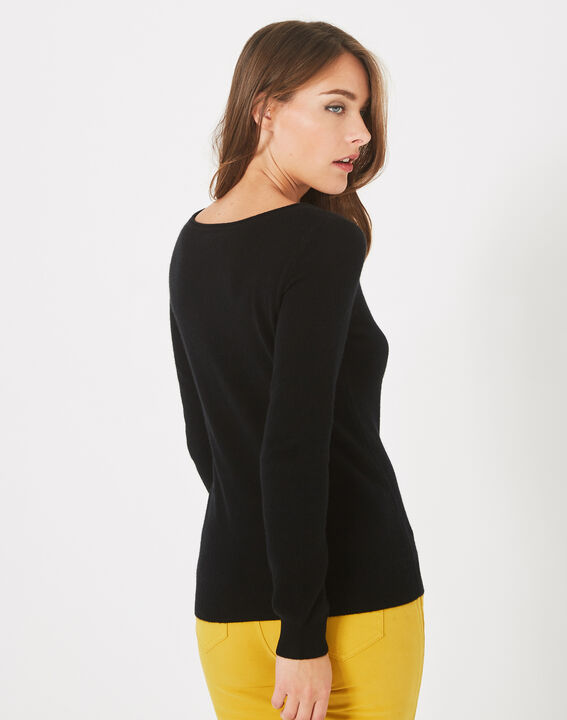 Pull noir col rond cachemire Petunia (4) - 1-2-3