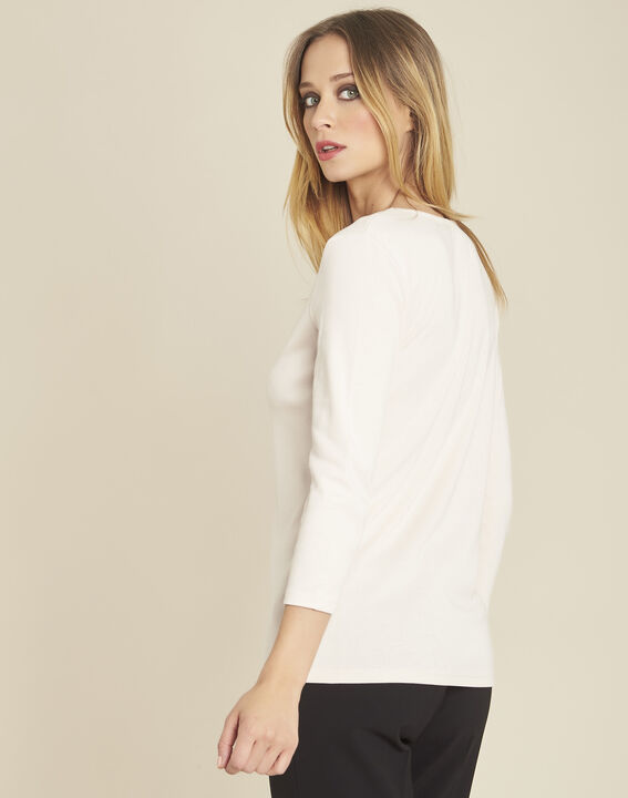 Galvani nude T-shirt with golden neckline and 3/4 length sleeves (4) - 1-2-3