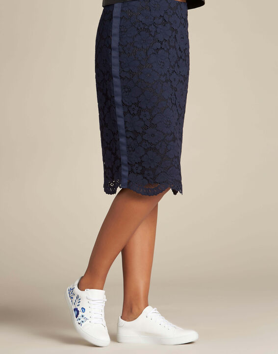 Lantana navy blue straight-cut skirt in lace (3) - 1-2-3