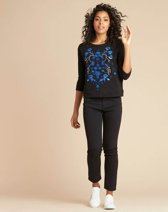 Eldorado black embroidered sweatshirt with 3/4 length sleeves black.