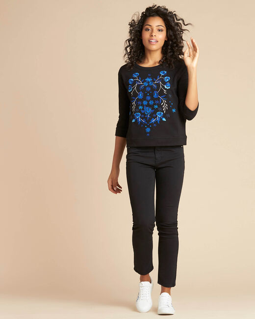 Eldorado black embroidered sweatshirt with 3/4 length sleeves (1) - 1-2-3