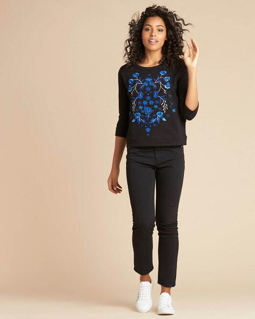 Eldorado black embroidered sweatshirt with 3/4 length sleeves (1) - 1-2-3
