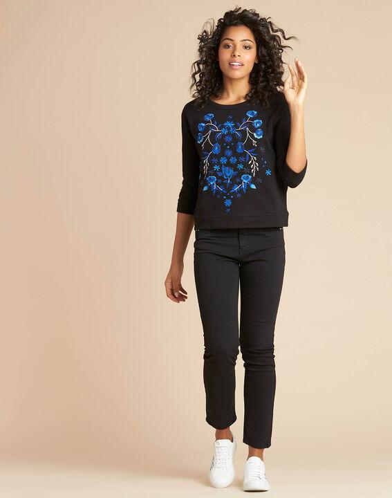 Zwarte geborduurde sweater met driekwartmouwen Eldorado (2) - 37653