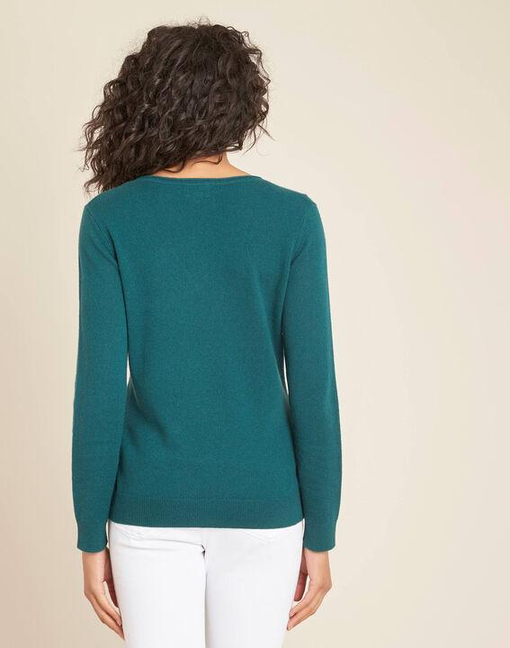 Pivoine forest green V-neck sweater in cashmere (4) - 1-2-3