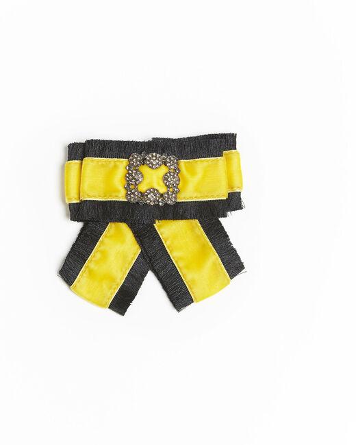 Broche baroque noeud jaune velours Xavière (1) - 1-2-3