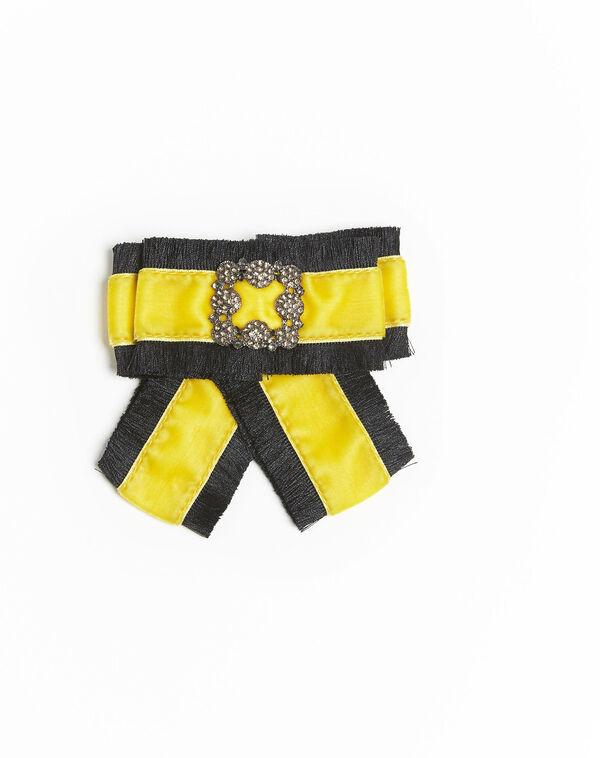 Broche baroque noeud jaune velours Xavière (2) - 1-2-3