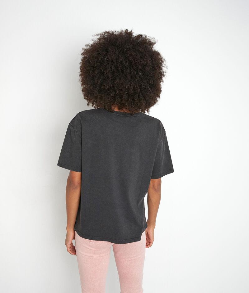 Tee-shirt en coton bio et col strassé anthracite Inox PhotoZ   1-2-3