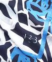 Blaues Seidenhalstuch mit grafischem Blumenprint Angel PhotoZ   1-2-3