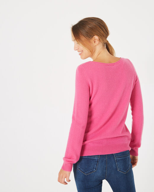 Petunia fuchsia cashmere sweater with round neck (2) - 1-2-3