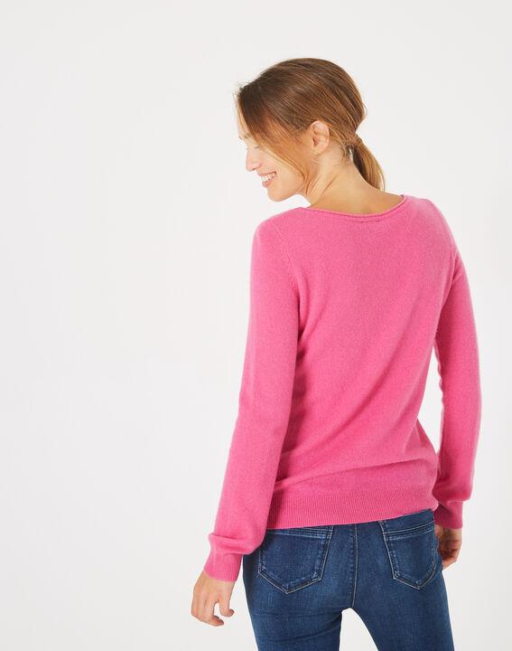Petunia fuchsia cashmere sweater with round neck (4) - 1-2-3