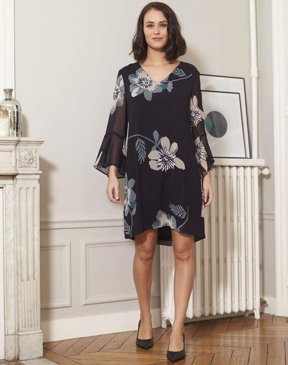 Marineblauwe jurk met bloemenprint Astrid (2) - 37653