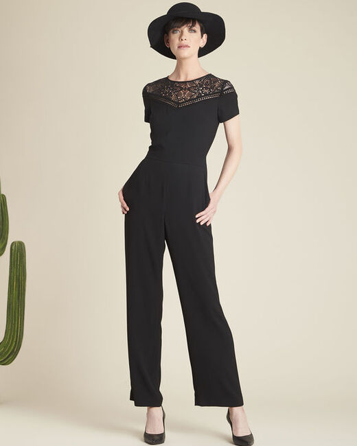 Daren black playsuit with lace neckline (2) - 1-2-3