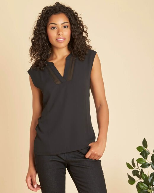 Bianca short-sleeved, black, dual-fabric T-shirt with a mesh collar  (2) - 1-2-3