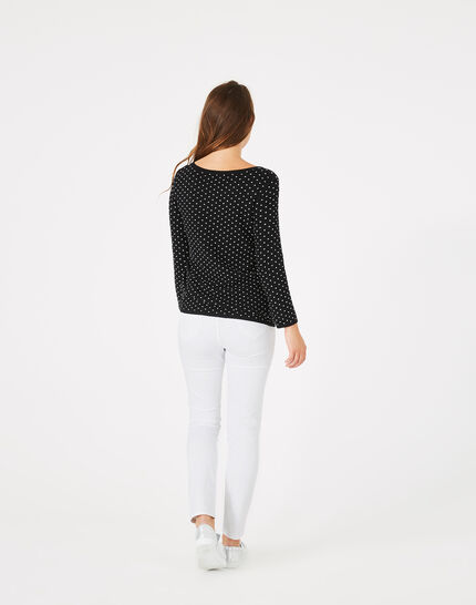 Pastille black sweater with polka dots (5) - 1-2-3