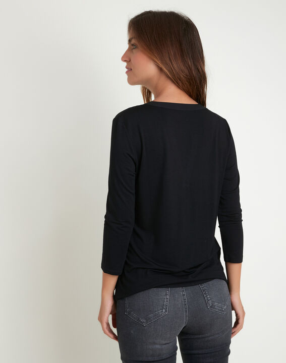 Genna black dual-fabric blouse with pockets (4) - 1-2-3