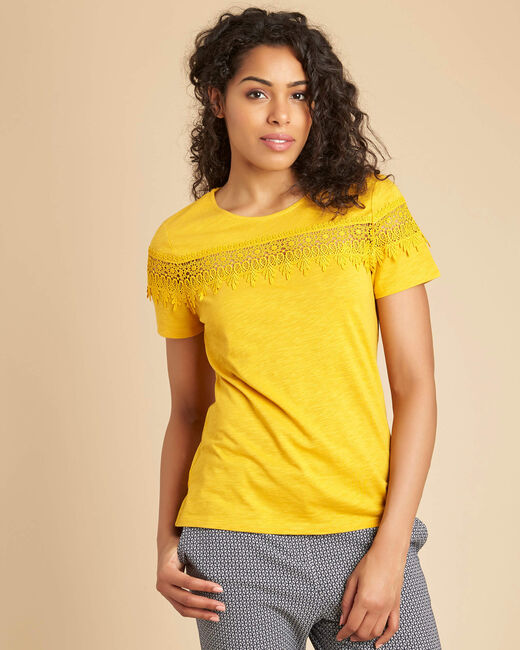 Esun yellow embroidered T-shirt (2) - 1-2-3