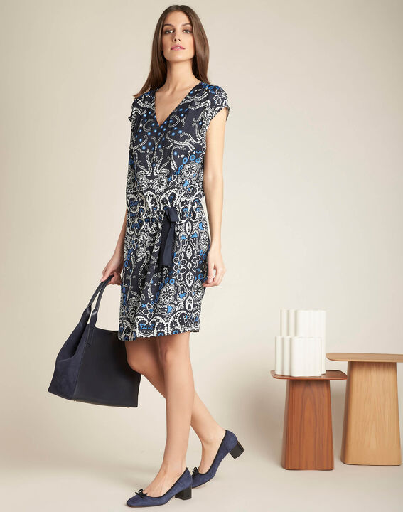 Pauline navy blue floral printed dress with belt (2) - 1-2-3