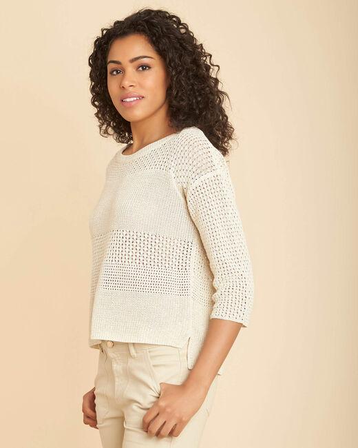 Nirvana golden shiny sweater in an openwork knit (2) - 1-2-3