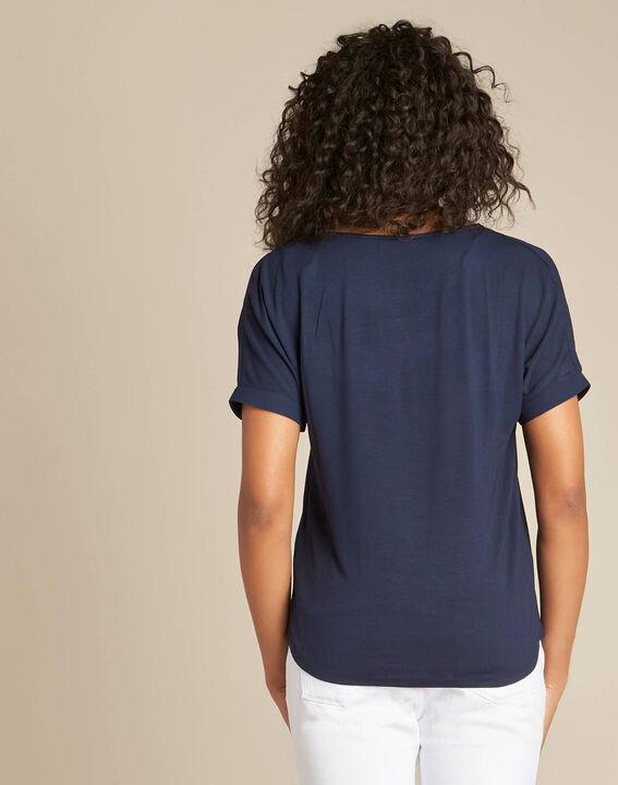Marineblaue Bluse mit kontrastierendem Ausschnitt Garry (4) - 1-2-3
