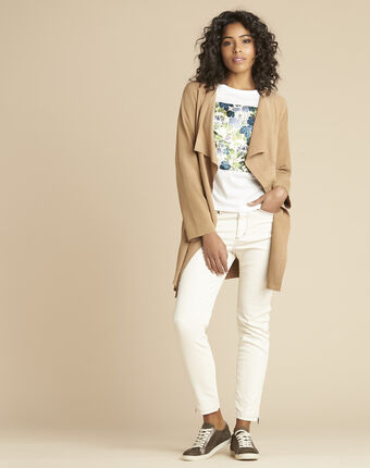 Veste beige waterfall 3/4 suédine gaston beige.