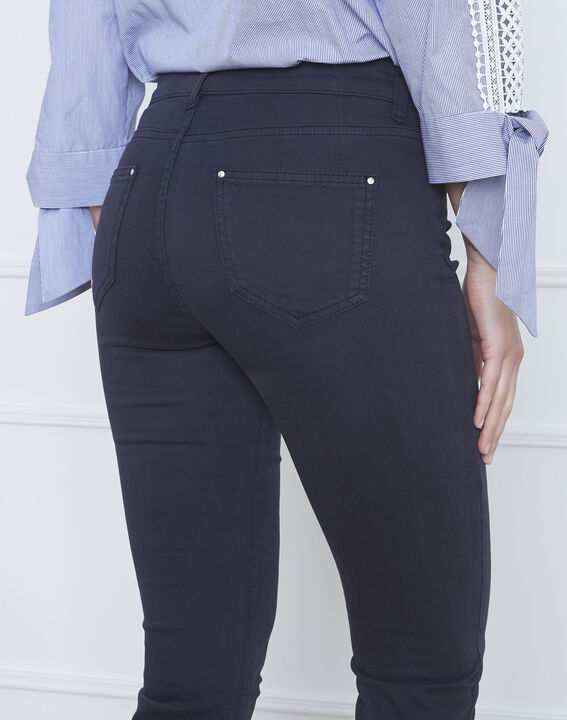 Marineblaue 7/8-Jeans Slim Fit Baumwollsatin Vendome (3) - Maison 123