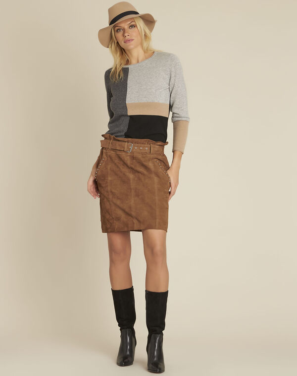 Apache camel suede leather skirt with eyelets (2) - 1-2-3