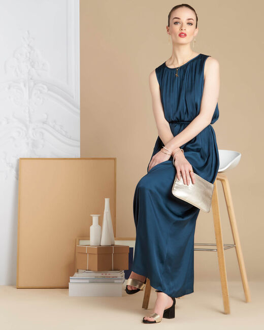 Waldgrünes langes Kleid mit Satin-Effekt Ivana (1) - 1-2-3