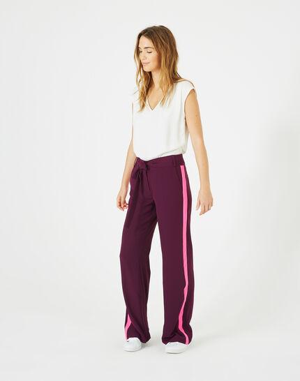 Pantalon cassis fluide bande côté Kamelia PhotoZ | 1-2-3