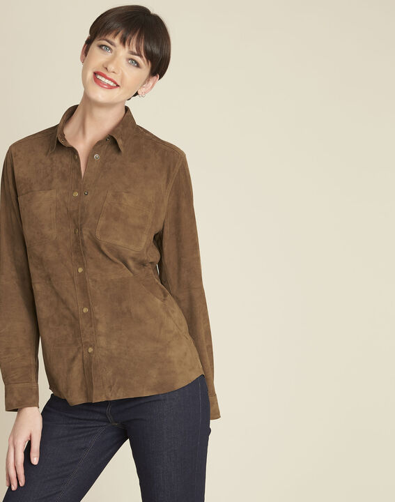 Vincianne camel suede goat leather blouse (1) - 1-2-3