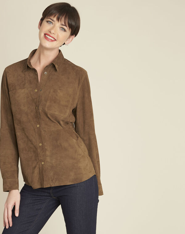 Vincianne camel suede goat leather blouse (2) - 1-2-3