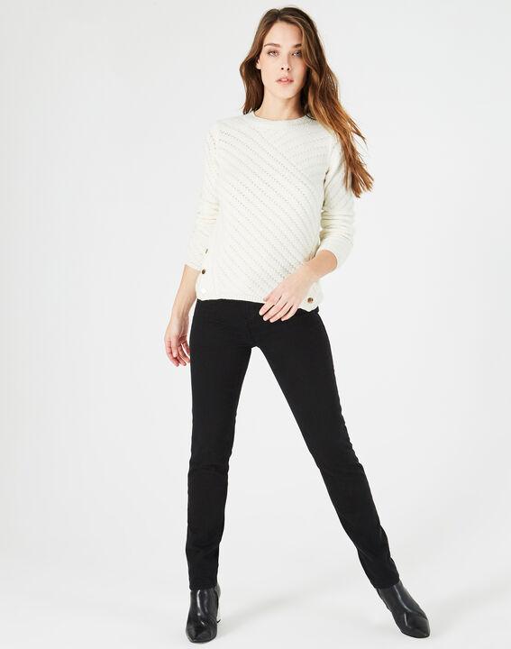 Ecrufarbener Pullover mit Rundhalsausschnitt und goldenen Knöpfen Paco PhotoZ | 1-2-3