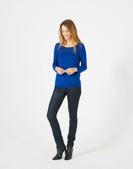 Pergola royal blue openwork sweater PhotoZ   1-2-3