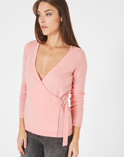 Pull rose façon cache-coeur en laine mélangée Poésie (2) - 1-2-3
