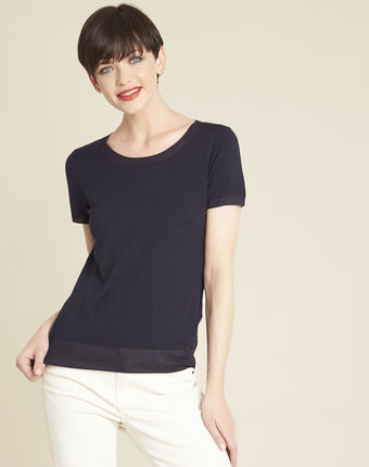 Begonia navy fine-knit sweater with rounded neckline navy.