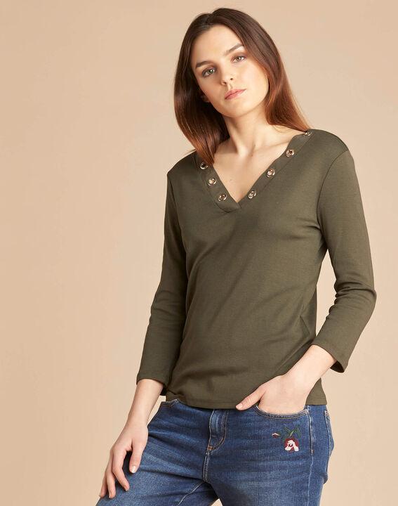 Basic khaki T-shirt with rounded neckline and eyelets (3) - 1-2-3
