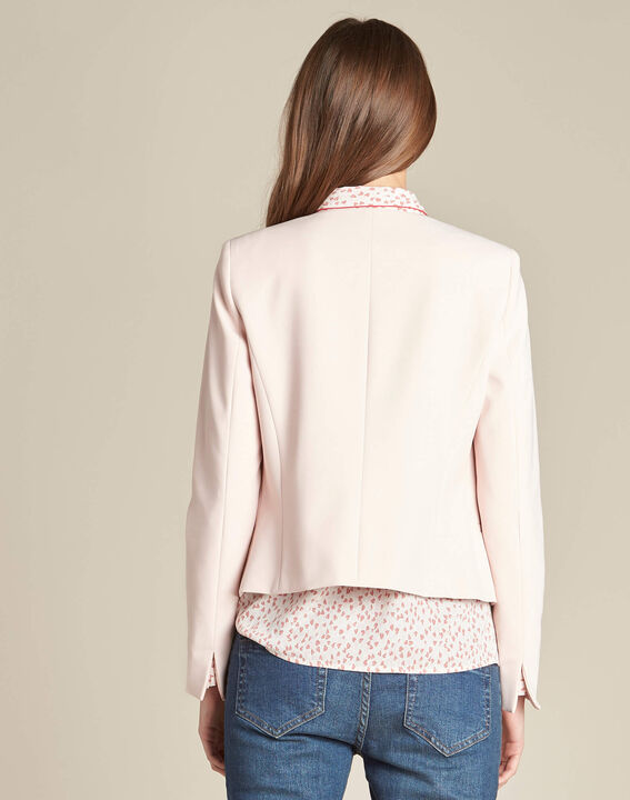 Charme pink cropped jacket in microfibre (4) - 1-2-3
