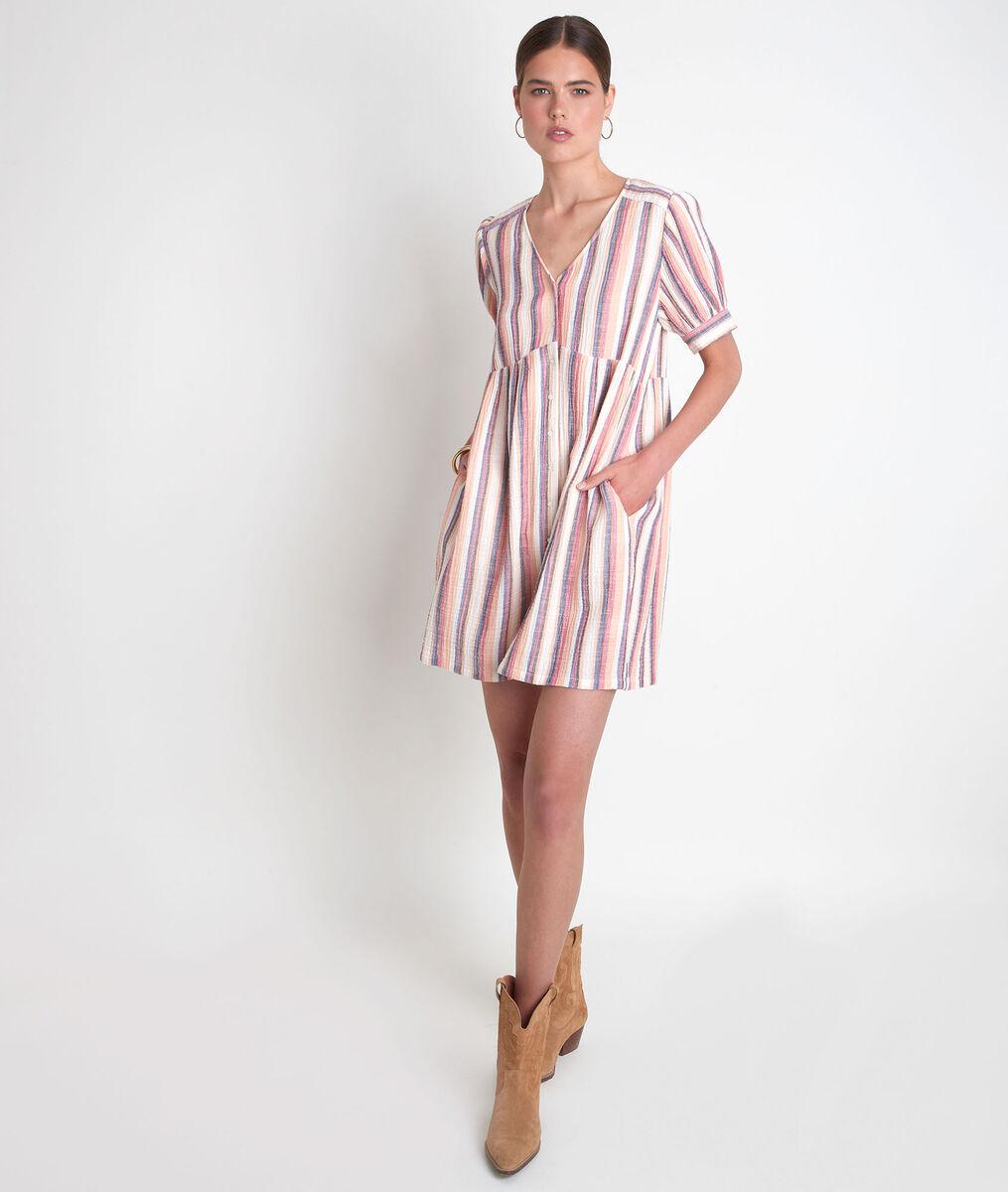 Korte katoenen jurk met strepen Sandy PhotoZ   1-2-3