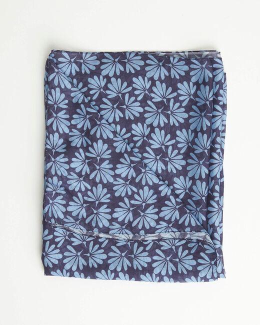 Foulard imprimé fleurs bleu Annick (2) - 1-2-3