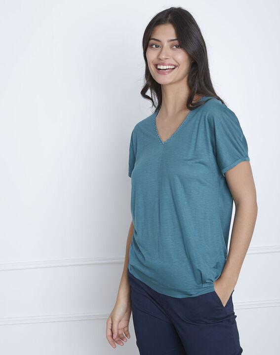 Tee-shirt vert dentelle encolure Papaye (1) - Maison 123