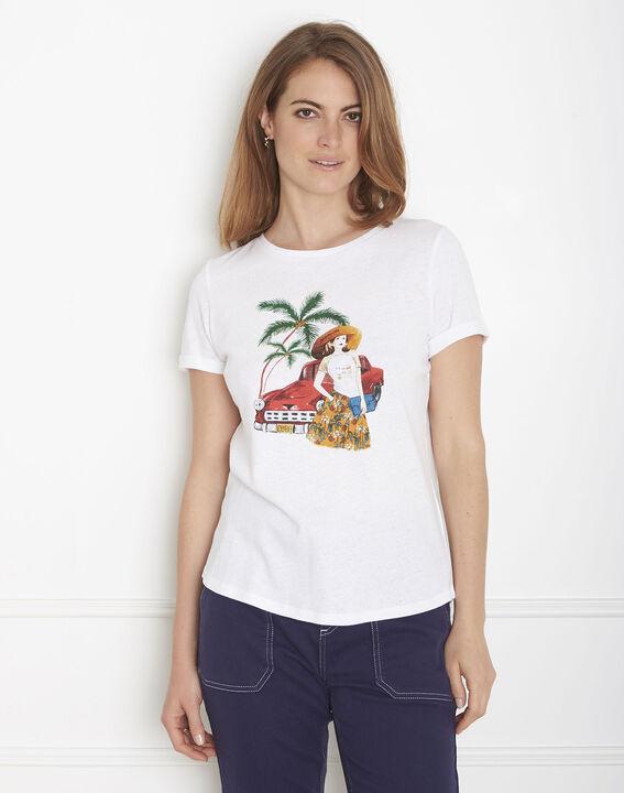 Ecrufarbenes T-Shirt mit Druckmuster Padillac PhotoZ | 1-2-3