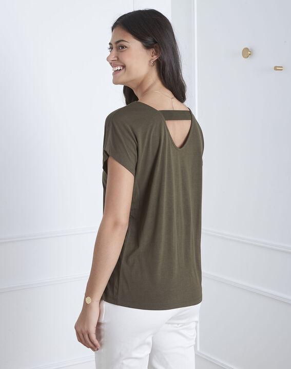 Khakifarbenes T-Shirt mit Feder-Stickerei Pandore (4) - Maison 123