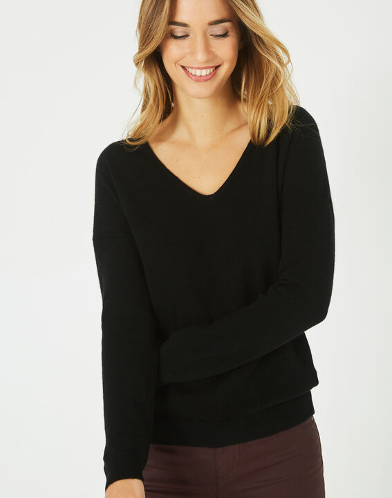 Piment black cashmere sweater with V-neck (3) - 1-2-3