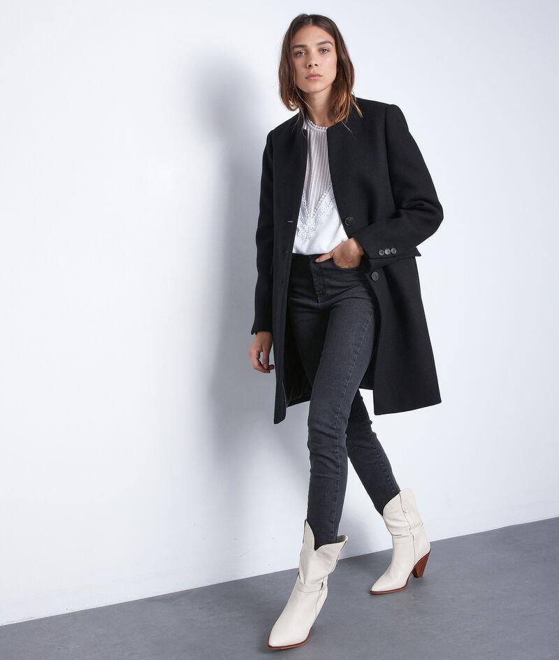Manteau droit en laine noir Lucas PhotoZ | 1-2-3