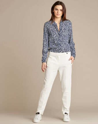 Lara slim-cut tailored ecru trousers ecru.