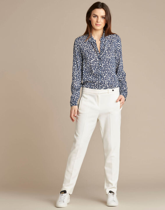 Lara slim-cut tailored ecru trousers PhotoZ | 1-2-3