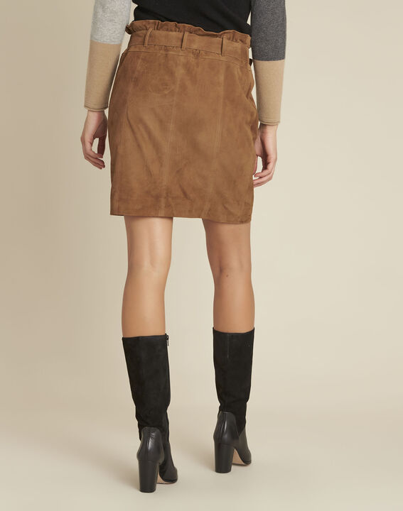 Apache camel suede leather skirt with eyelets (4) - 1-2-3