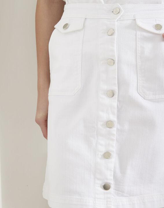 Jupe blanche en jean boutonnée Ambre PhotoZ | 1-2-3