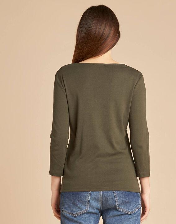 Basic khaki T-shirt with rounded neckline and eyelets (4) - 1-2-3