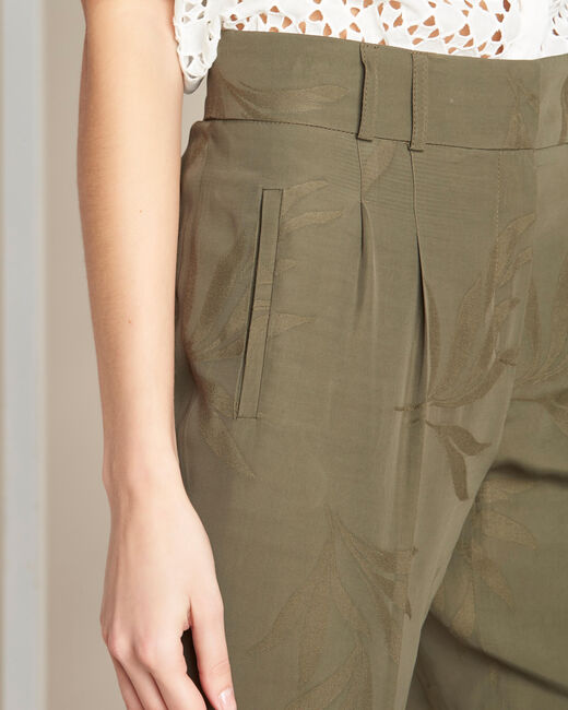 Vada khaki trousers with jacquard palm print (1) - 1-2-3
